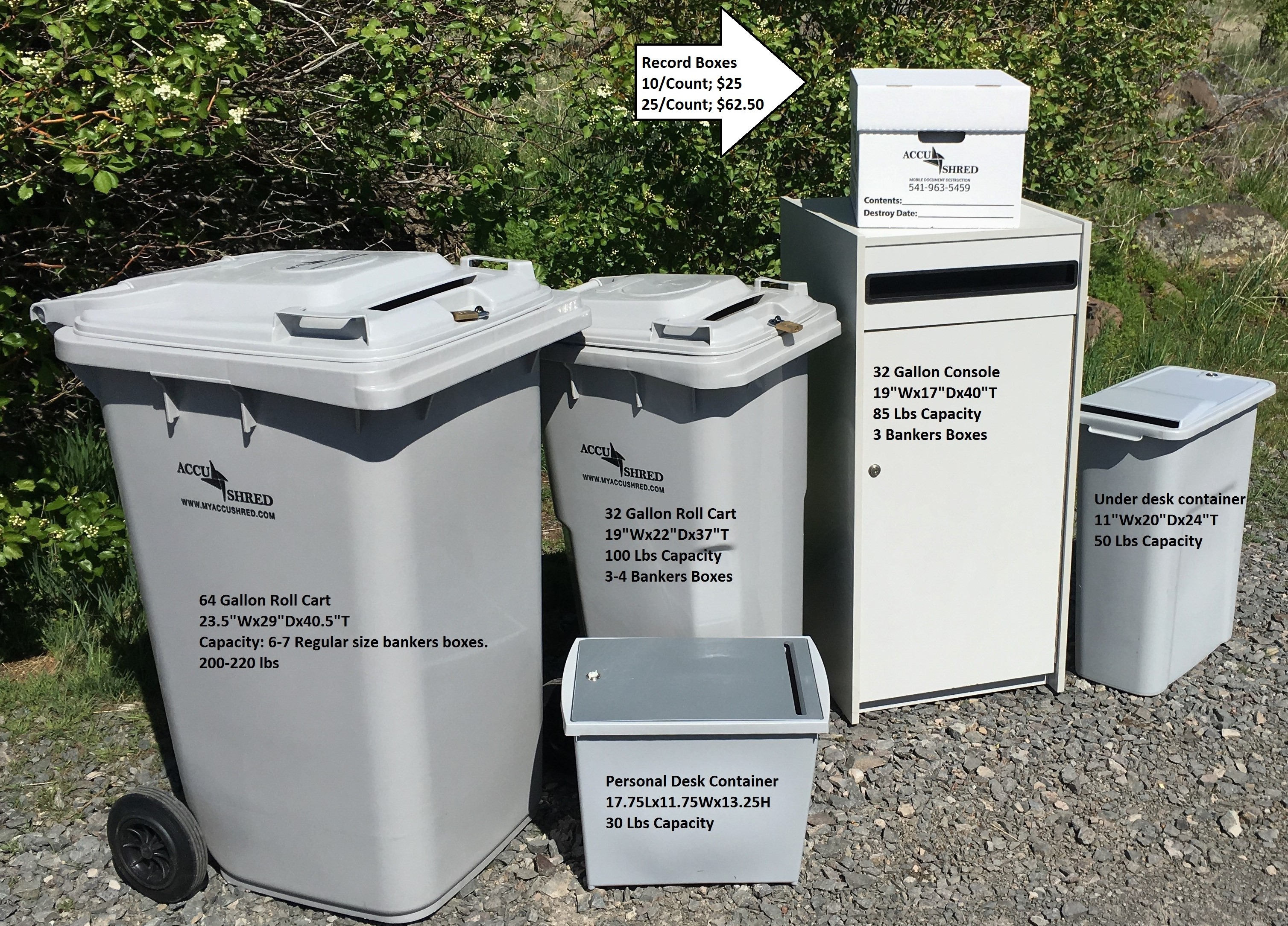 shred container sizes